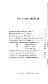 Le Mahométisme en Chine et dans le Turkestan Oriental: Volume1