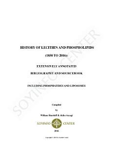 History of Lecithin and Phospholipids  1850 2016