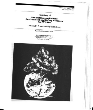 Inventory of Federal Energy-related Environment and Safety Research for FY 1978