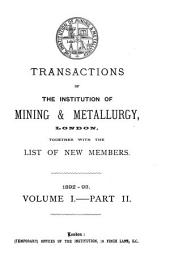 Transactions of the Institution of Mining and Metallurgy: Volume 1, Part 2