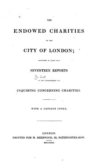 The Endowed Charities of the City of London PDF