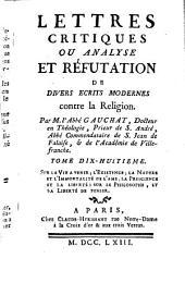 Lettres critiques ou analyse et réfutation de divers écrits modernes contre la religion: Sur la vie à venir ¬[u.a.]. 18