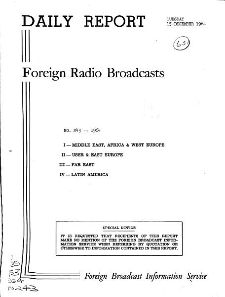 Daily Report  Foreign Radio Broadcasts PDF