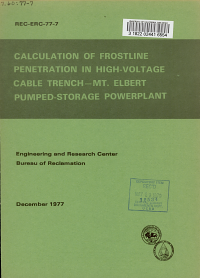 Calculation of Frostline Penetration in High voltage Cable Trench