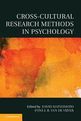 Cross Cultural Research Methods In Psychology Book PDF