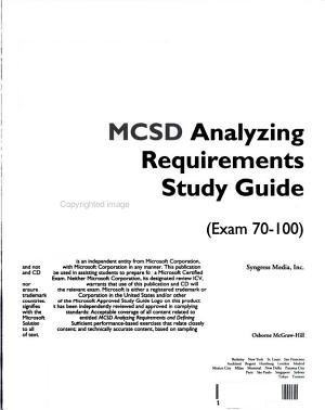 MCSD Analyzing Requirements Study Guide  Exam 70 100   PDF