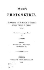 Photometrie: Photometria, sive De mensura et gradibus luminis, colorum et umbrae (1760)