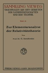 Zur Elementaranalyse der Relativitätstheorie: Einleitung und Vorstufen