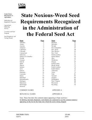 State Noxious-weed Seed Requirements Recognized in the Administration of the Federal Seed Act