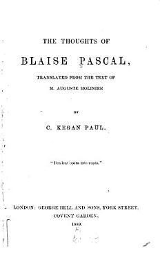 The Thoughts of Blaise Pascal PDF