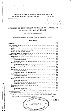Outlines of the Geology of Brazil to Accompany the Geologic Map of Brazil