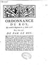 Ordonnance du Roy, qui annulle le Reglement du 25 Juillet 1708. Du 5 Juin 1736