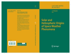 Solar and Heliospheric Origins of Space Weather Phenomena PDF
