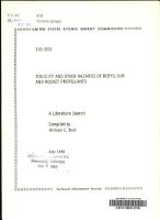 Toxicity and Other Hazards of Beryllium and Rocket Propellants PDF