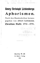 Georg Christoph Lichtenbergs Aphorismen: nach den handschriften, Band 2