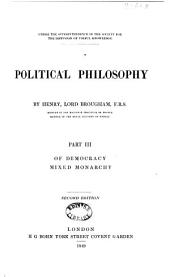 Political Philosophy: Of democracy. Mixed monarchy