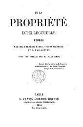 De la propriété intellectuelle: études