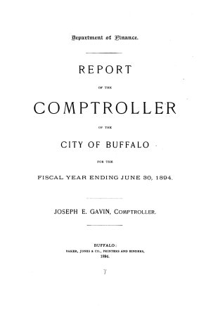 Annual Report of the Comptroller  City of Buffalo