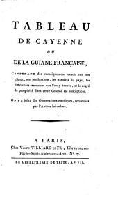 Tableau de Cayenne ou de la Guiane francaise ...