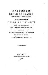 Rapporto delle adunate tenute dalla terza classe dell'Accademia delle Belle Arti e dei perfezionamenti delle manifatture in Toscana del dottore Antonio Targioni Tozzetti ..