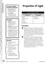 Academic Vocabulary Level 5--Properties of Light