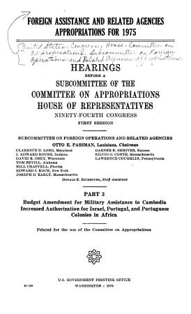 Foreign Assistance and Related Agencies Appropriations for 1975 PDF
