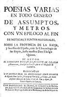 Poesias varias     Con un epilogo     de noticias y puntos historiales sobre la provincia de la Rioja  y sucessos de Espa  a  etc PDF