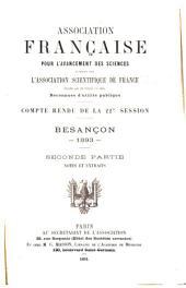 Congrès de l'Association française pour l'avancement des sciences: Volume22,Numéro2