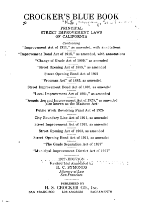 Crocker s Blue Book on Principal Street Improvement Laws of California PDF