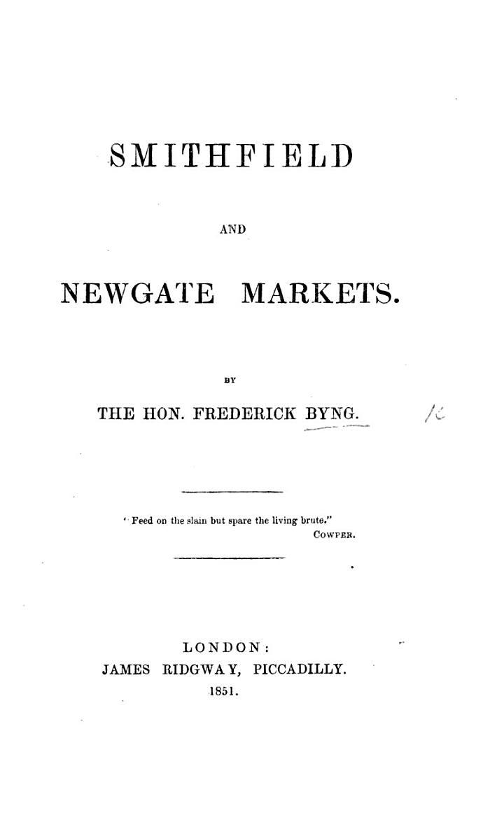 Smithfield and Newgate Markets