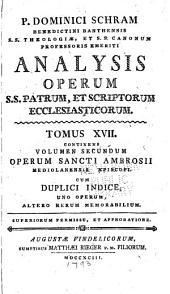 Analysis operum S.S. patrum et scriptorum ecclesiasticorum: Volume 17