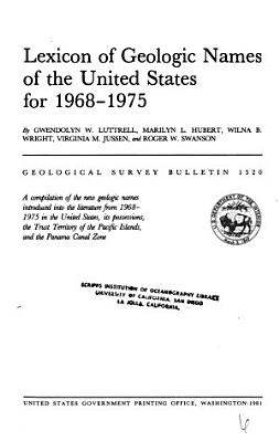 Lexicon of Geologic Names of the United States for 1968 1975 PDF