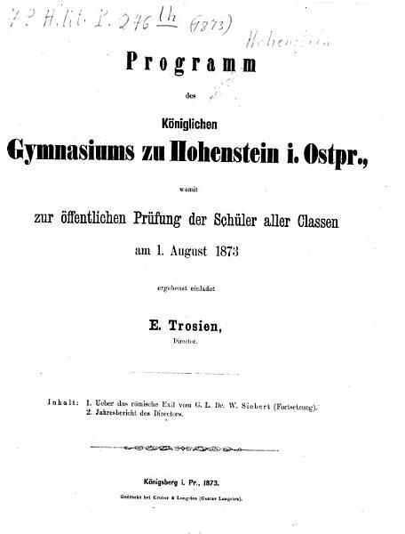 Programm Des Koniglichen Gymnasiums Zu Hohenstein In Ostpreussen