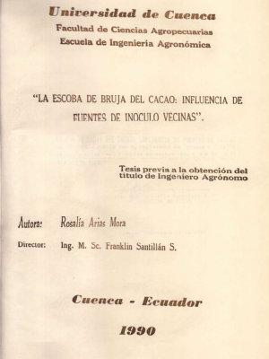 LA ESCOBA DE BRUJA DEL CACAO  INFLUENCIA DE FUENTES DE INOCULO VECINAS PDF
