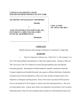 TakeTwo Interactive Software, Inc., Ryan Brant, Larry Muller, James David, Jr.: Securities and Exchange Commission Litigation Complaint