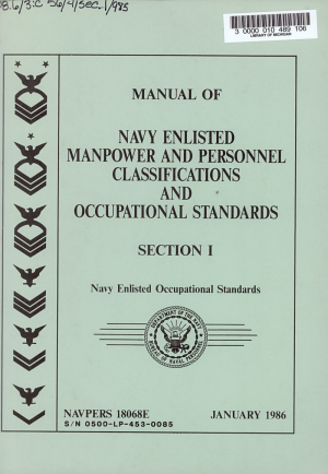 Manual of Navy enlisted manpower and personnel classifications and occupational standards PDF