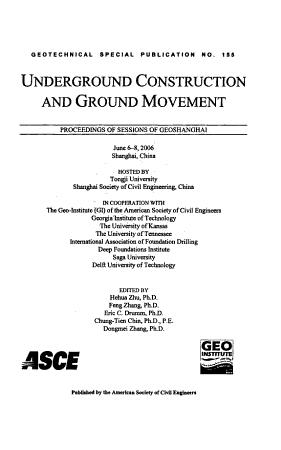 Underground Construction and Ground Movement PDF