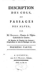 Description des cols, ou passages des Alpes