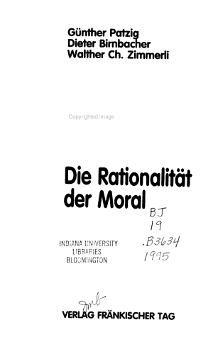 Die Rationalit  t der Moral PDF
