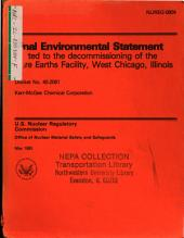 Rare Earths Facility, West Chicago, Decommissioning License: Environmental Impact Statement