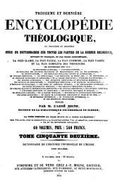 Encyclopédie théologique: ou Série de dictionnaires sur toutes les parties de la science religieuse, Volume154