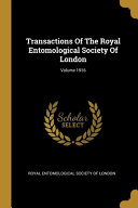 Transactions Of The Royal Entomological Society Of London; Volume 1916