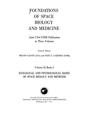 Foundations of Space Biology and Medicine: Ecological and physiological bases of space biology and medicine. 2 v