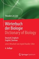 W  rterbuch der Biologie Dictionary of Biology PDF
