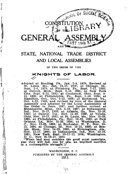 Constitution of the General Assembly and for State  National Trade District and Local Assemblies of the Order of the Knights of Labor PDF