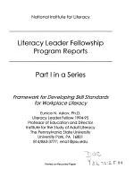 Framework for Developing Skill Standards for Workplace Literacy