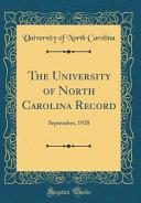 The University of North Carolina Record