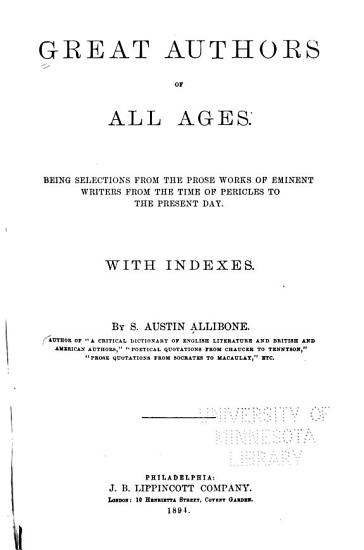Great Authors of All Ages PDF