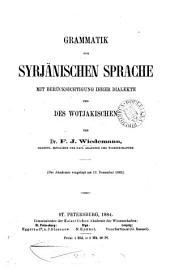 Grammatik der syrjänischen Sprache mit Berücksichtigung ihrer Dialekte und des Wotjakischen: Band 1