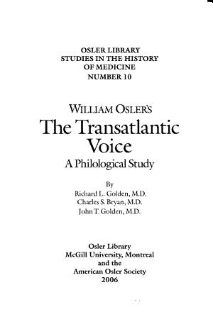 William Osler s The Transatlantic Voice